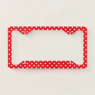 Red With White PolkaDot License Plate Frame