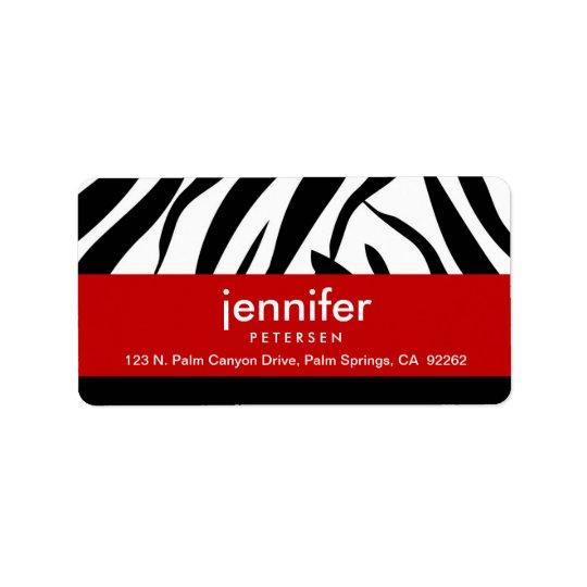 Red with Zebra Print, Address Labels