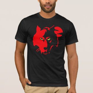 Red Wolf on Black  Tee