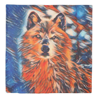 Red Wolf Wolves Wildlife Queen Duvet Cover