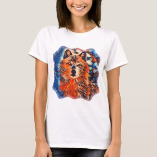 Red Wolf Woves Wildlife Womens Tee