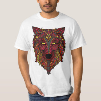 Red Wolf yellow gray head maroon T-Shirt