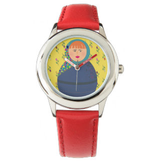 Red Woman Colorful Hot Portrait Cool Floral Trendy Watch
