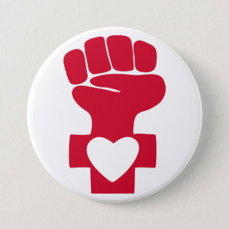 Red Woman Power with Heart Symbol 3 Inch Round Button