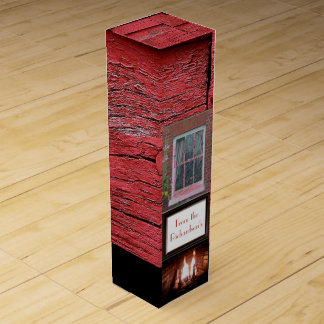 Red wood barn fireplace monogrammed wine box