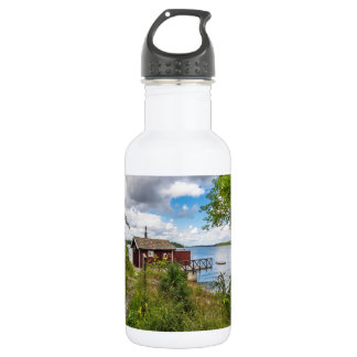 Red wooden cottage in Sweden 532 Ml Water Bottle