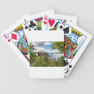Red wooden cottage in Sweden Bicycle Playing Cards