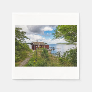 Red wooden cottage in Sweden Disposable Napkin
