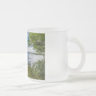 Red wooden cottage in Sweden Frosted Glass Coffee Mug