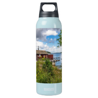 Red wooden cottage in Sweden Insulated Water Bottle