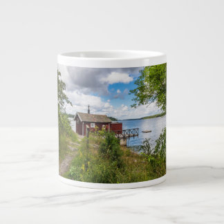 Red wooden cottage in Sweden Large Coffee Mug