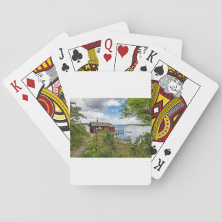 Red wooden cottage in Sweden Playing Cards
