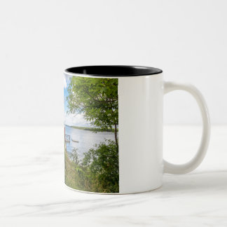 Red wooden cottage in Sweden Two-Tone Coffee Mug