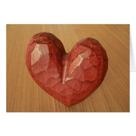 Red Wooden Heart Card