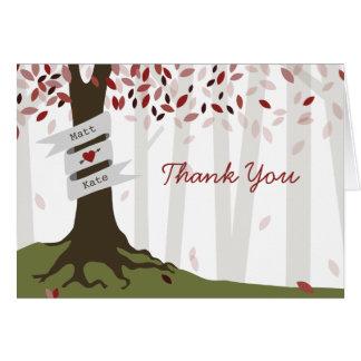 Red Woodland Autumn Wedding Thank You Card