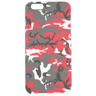 Red Woodland Camo Clear iPhone 6 Plus Case