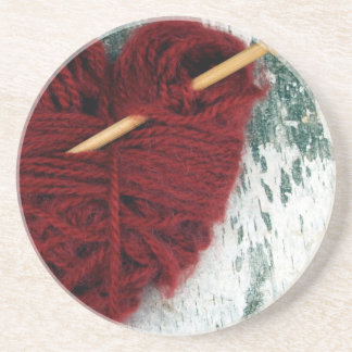 Red wool heart on birch bark photograph coaster