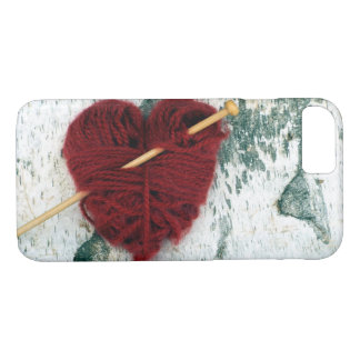 Red wool heart on birch bark photograph iPhone 8/7 case