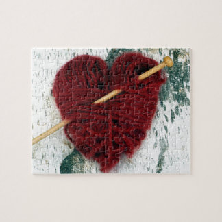 Red wool heart on birch bark photograph jigsaw puzzle