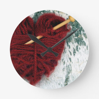 Red wool heart on birch bark photograph round clock
