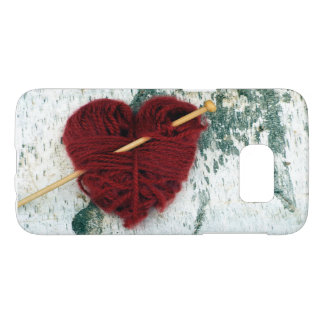 Red wool heart on birch bark photograph samsung galaxy s7 case