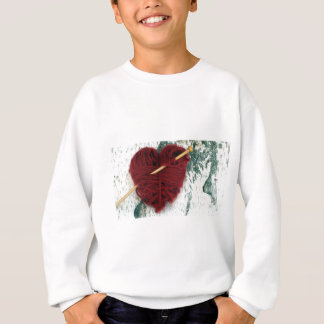 Red wool heart on birch bark photograph sweatshirt