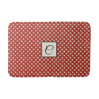 Red Woven Rattan on Custom Color with Monogram Bath Mat