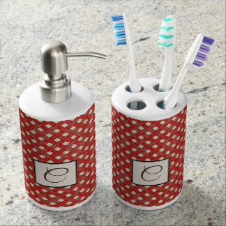 Red Woven Rattan on Custom Color with Monogram Soap Dispenser And Toothbrush Holder