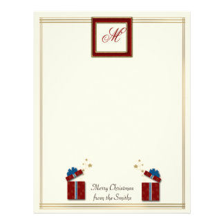 Red Wrapped Presents with Photo Border on Cream Personalized Letterhead
