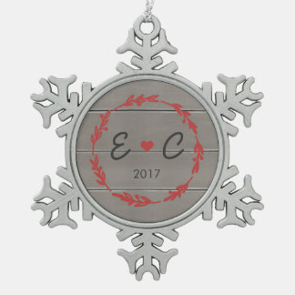Red Wreath Couple's Initials Ornament