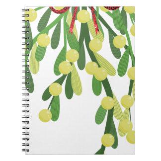 red xmas mistletoe notebook