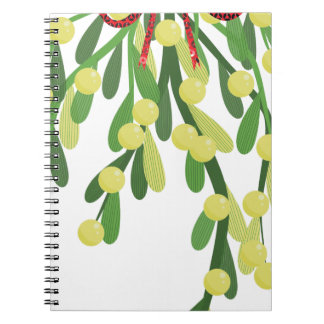 red xmas mistletoe notebooks