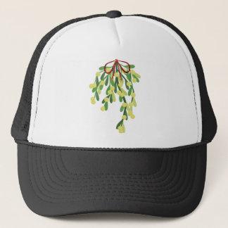 red xmas mistletoe trucker hat