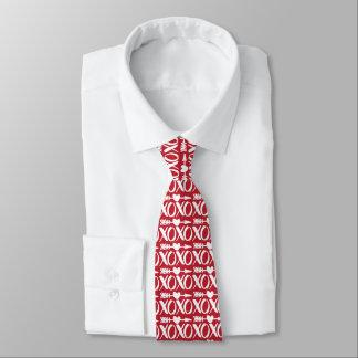 Red XOXO Heart Arrow Pattern Valentines Tie