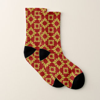 Red Yellow and Black Stylish Pattern Socks 1