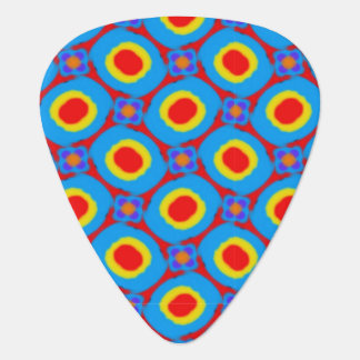 Red,Yellow and Blue Folk Art Abstract Dots Pattern Guitar Pick
