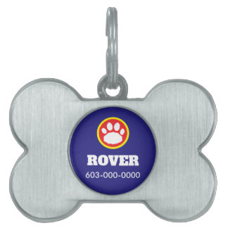 Red, Yellow, and Blue Paw Print Pet Tag