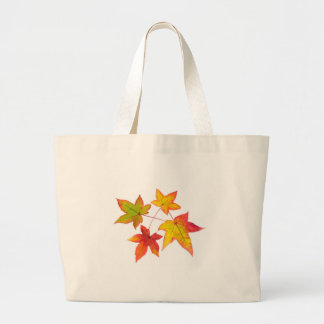 Red yellow and green autumn leaves large tote bag