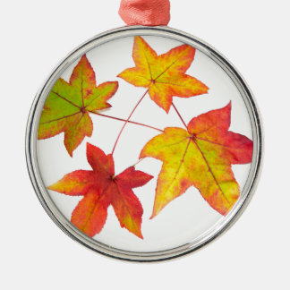 Red yellow and green autumn leaves Silver-Colored round ornament