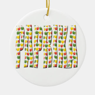 Red Yellow and green paprika patterns. Ceramic Ornament