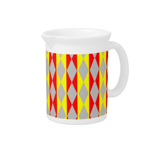 Red, Yellow And Grey Diamonds Beverage Pitcher