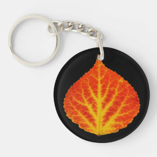 Red & Yellow Aspen Leaf #10 Keychain