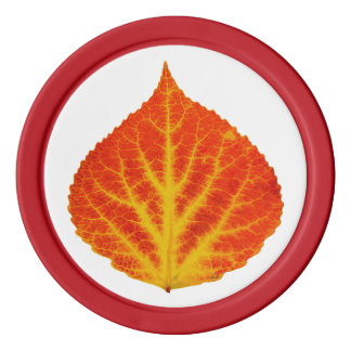 Red & Yellow Aspen Leaf #10 Poker Chips