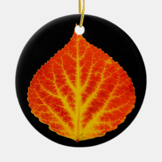 Red & Yellow Aspen Leaf #10 Round Ceramic Ornament