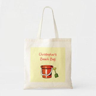 Red Yellow Beach Bucket Pail Custom Child's Name Tote Bag