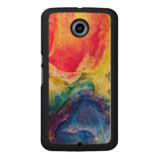Red Yellow Blue Abstract Painting Wood Phone Case