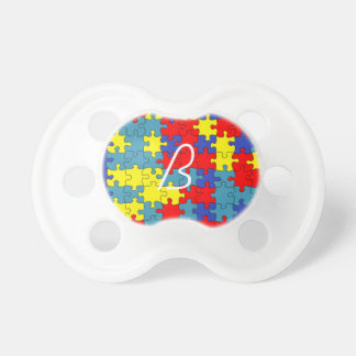 Red Yellow Blue Autism Puzzle Pattern Pacifiers