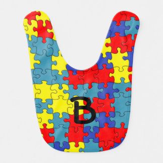 Red Yellow Blue Autism Puzzle Pattern Bibs