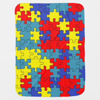 Red, Yellow & Blue Autism Puzzle Pattern Stroller Blanket