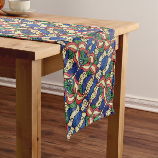 Red Yellow Blue Floral Pattern Long Table Runner